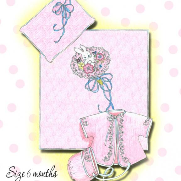 Baby Kimono, Cap & Coverlet